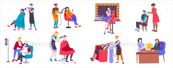 Hairdressers With Clients Set - Miscellaneous Vectors