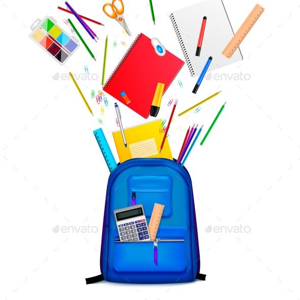 School Backpack Realistic Composition - Miscellaneous Vectors