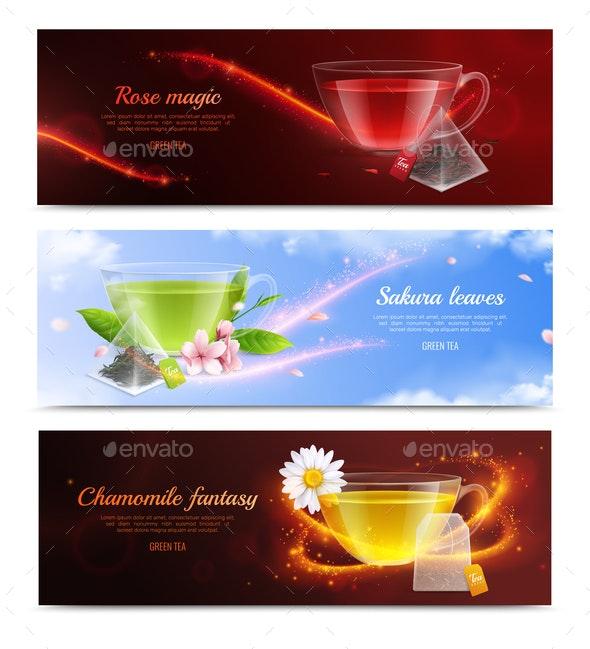 Tea Brewing Bag Realistic Banner Set - Miscellaneous Vectors