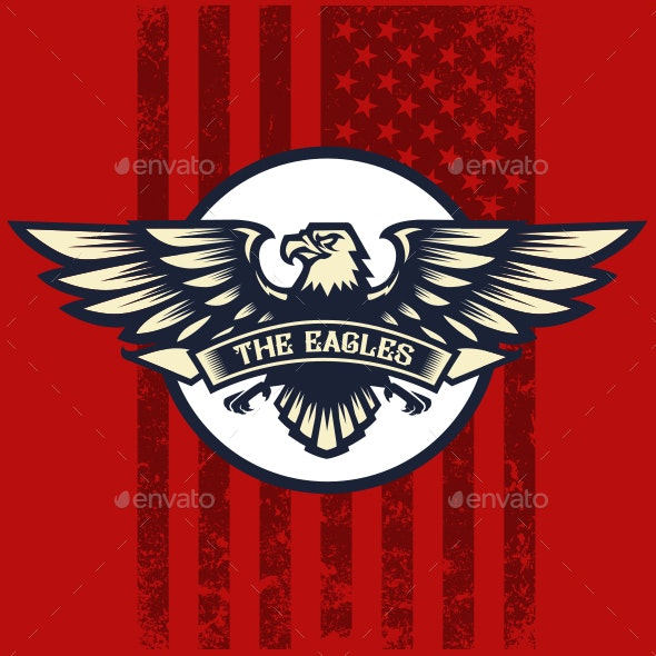 Eagle and American Flag - Animals Characters