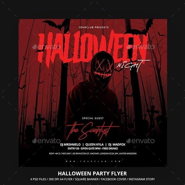 Halloween Party Flyer & Social Media Banner Set