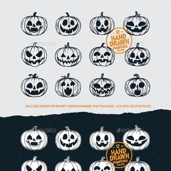 12 Hand Drawing Halloween Pumpkins Vectors by bayurakhmadio