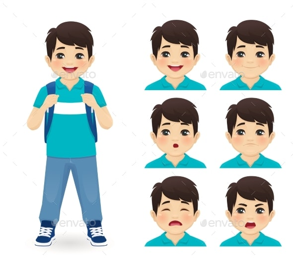 School Boy Emotions - People Characters