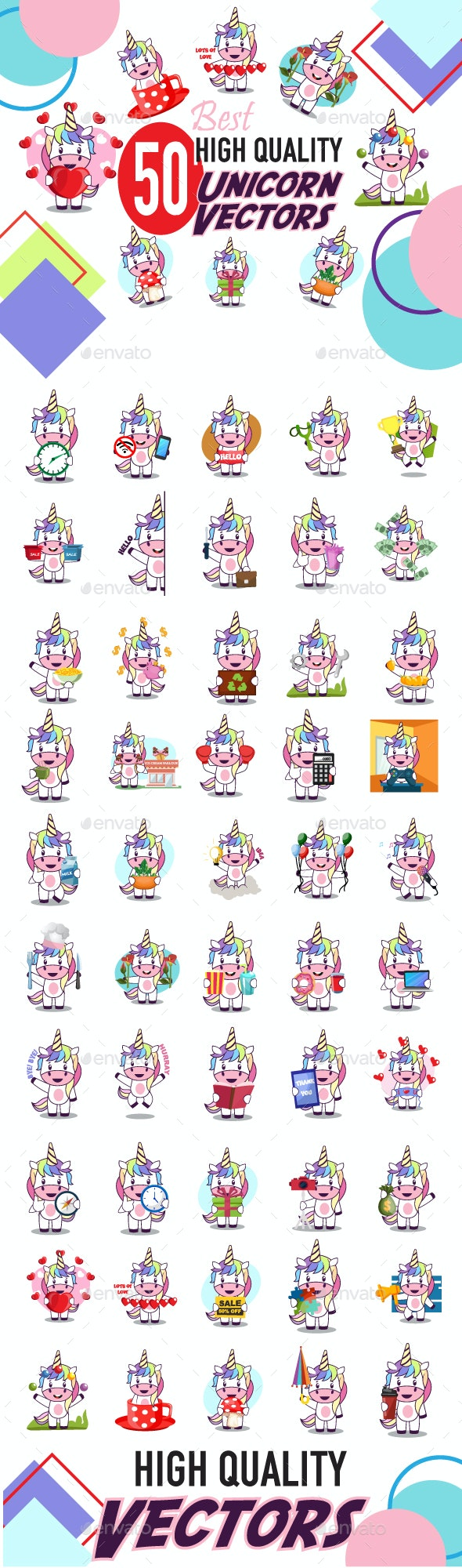 50x Unicorn Character Vector Pack - Animals Characters
