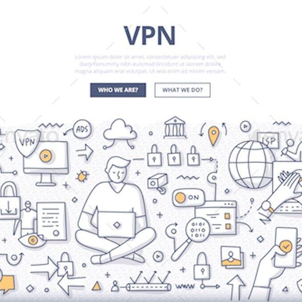 VPN Doodle Concept