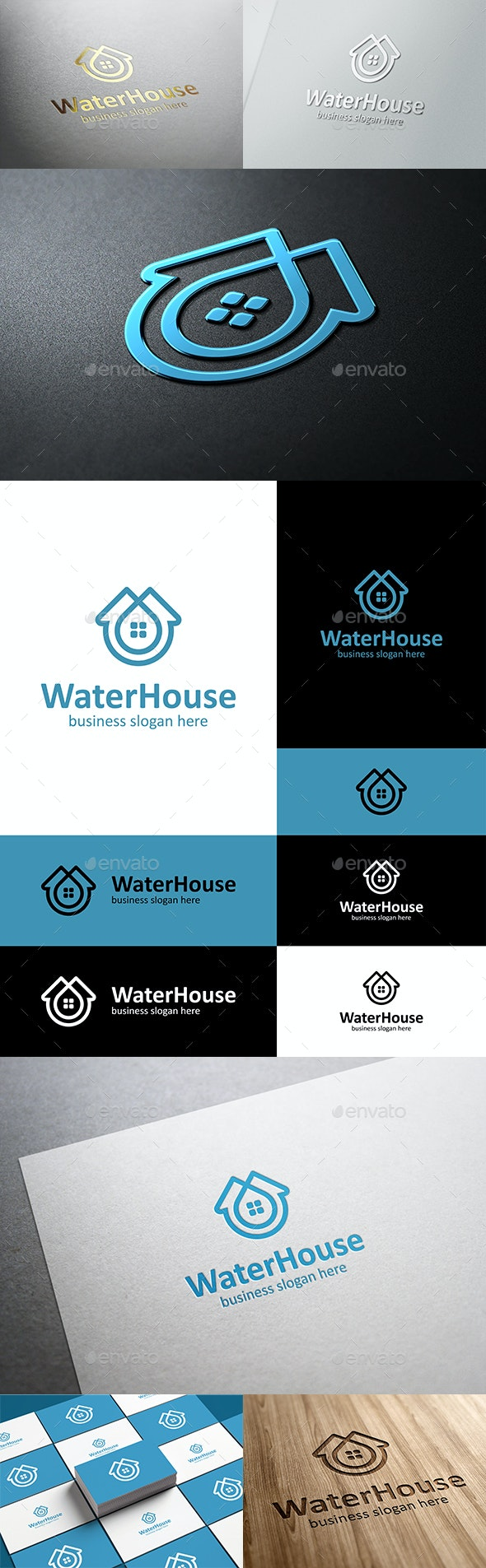 Water House Home and Drop Logo - Buildings Logo Templates