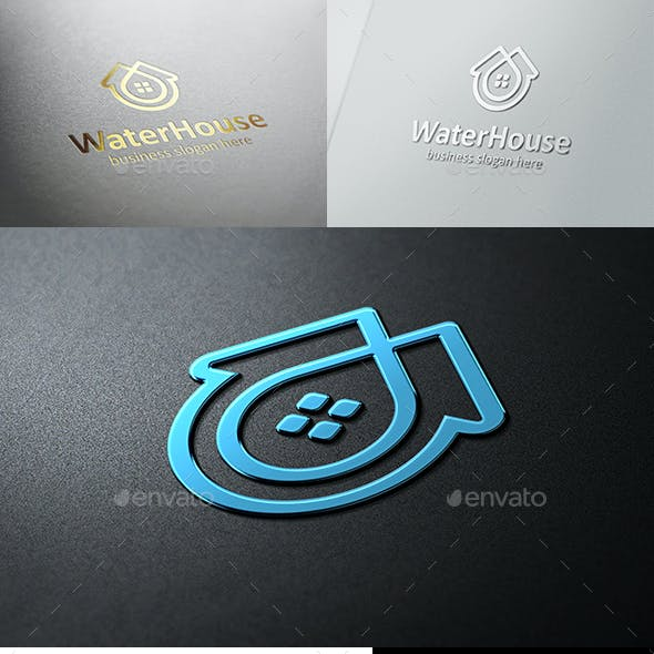 Water House Home and Drop Logo