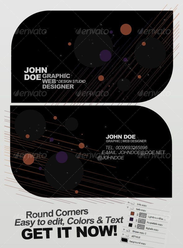 Dark Space Business Card - Round Corners - Creative Business Cards