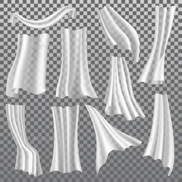 Transparent Curtains, White Drapery, Vector 3D - Objects Vectors