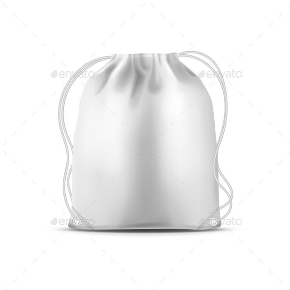 Drawstring Sport Bag, White Fitness Backpack 3D - Objects Vectors