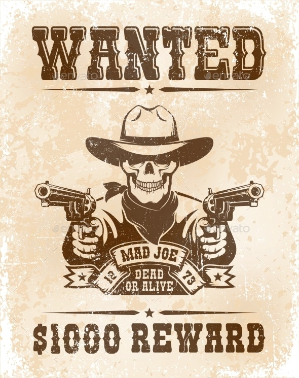 Wanted Poster with Skull Cowboy with Guns - Miscellaneous Vectors