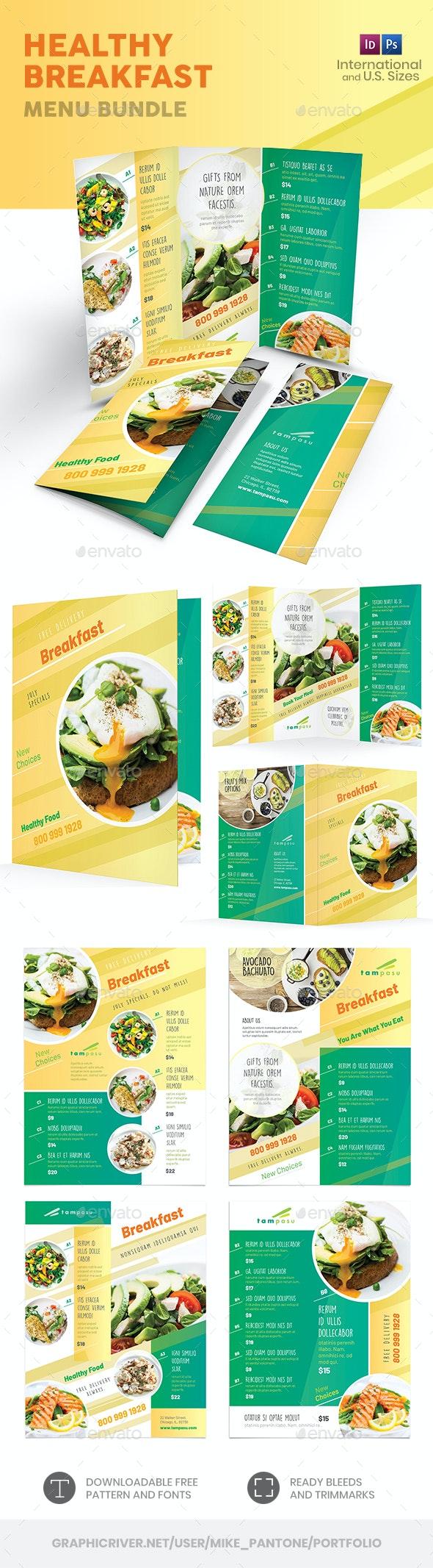 Healthy Breakfast Menu Print Bundle - Food Menus Print Templates