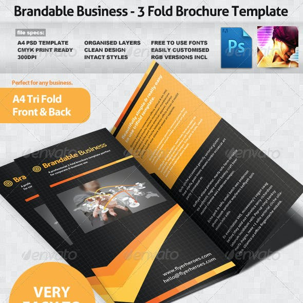 Brandable Business 3 Fold Brochure Template