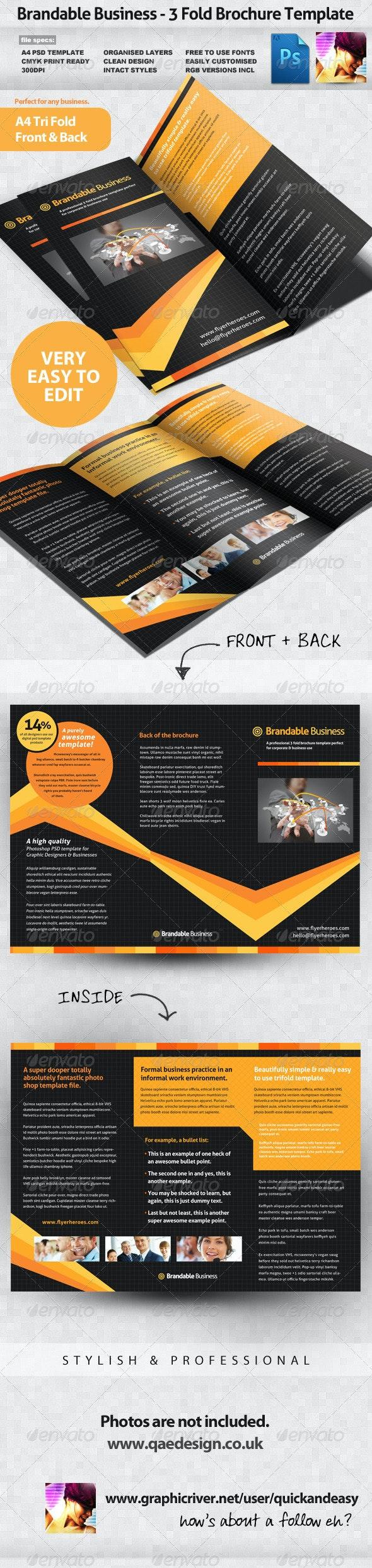 Brandable Business 3 Fold Brochure Template - Corporate Brochures