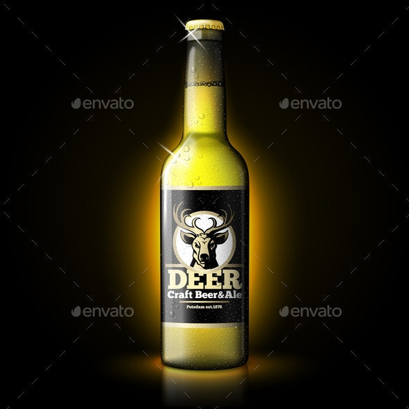 Vector Beer Template Bottle on Dark Background - Food Objects