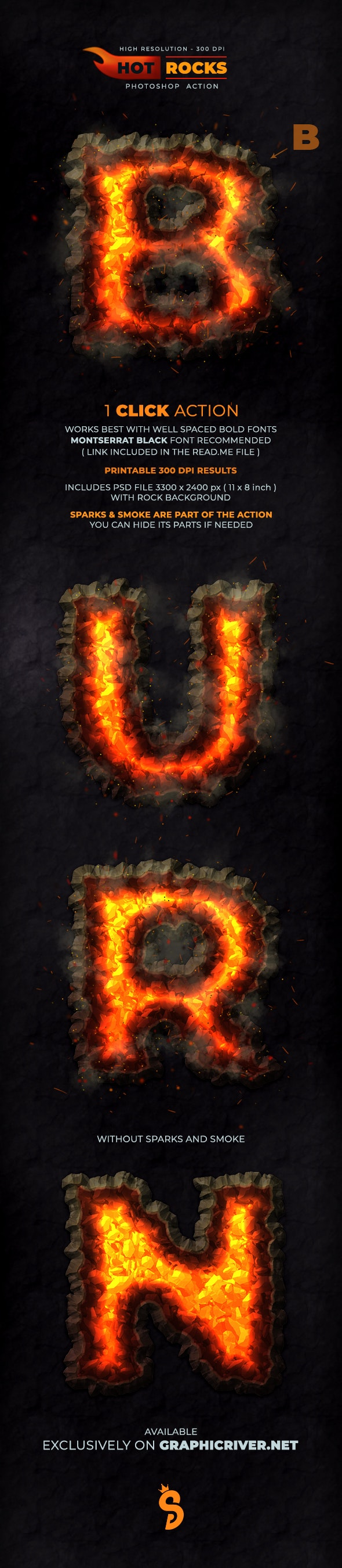 Hot Rocks - Photoshop Text Action - Text Effects Actions