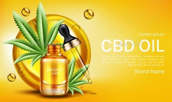 CBD Oil Banner Mockup Hemp Cannabinoid Extract - Health/Medicine Conceptual