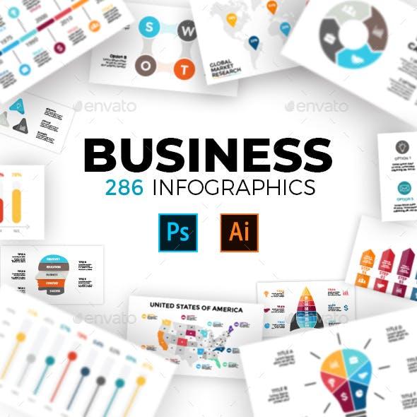 286 Business Infographics. PSD AI EPS.