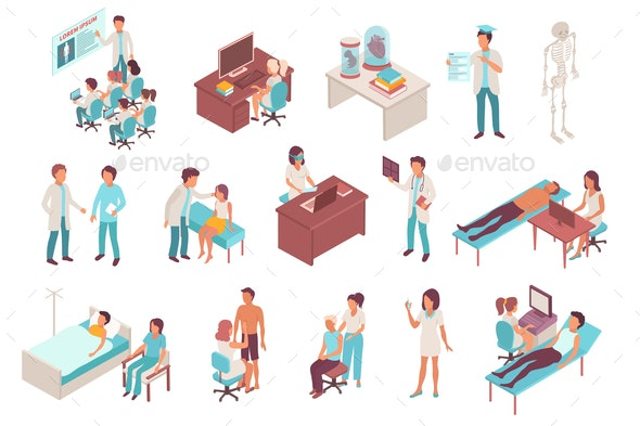 Medical Students Isometric Icons - Health/Medicine Conceptual