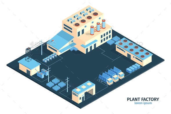 Modern Plant Isometric Composition - Industries Business