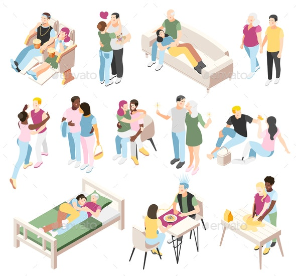 Different Couples Isometric Icons - Miscellaneous Vectors