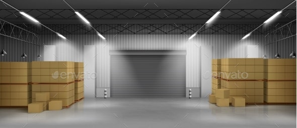 Cardboard Boxes in Warehouse 3d Realistic Vector - Industries Business