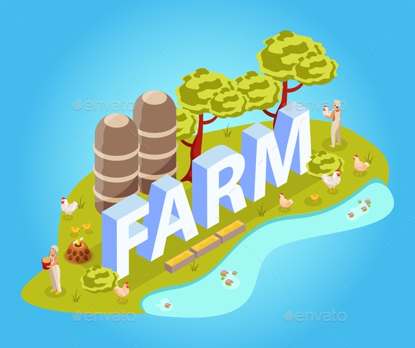 Farm Chicken Isometric Composition - Animals Characters