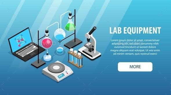 Laboratory Equipment Isometric Banner - Miscellaneous Vectors