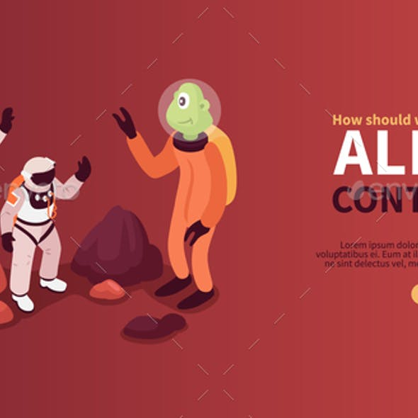 Alien Contact Isometric Horizontal Banner