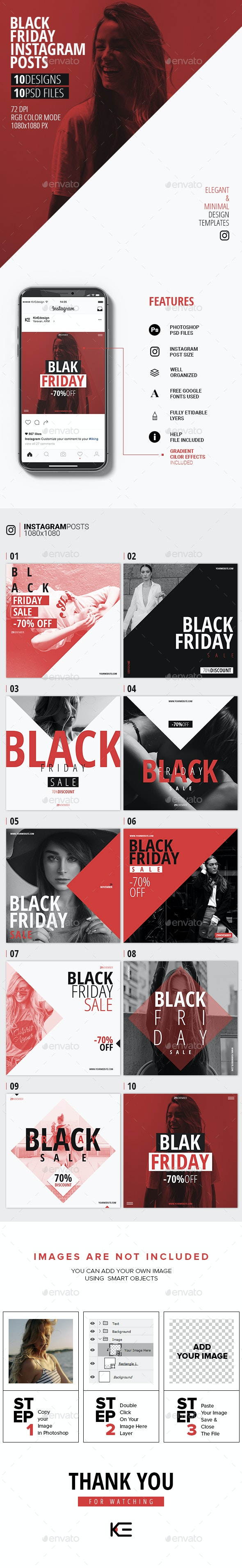 10 Black Friday Instagram Posts - Social Media Web Elements