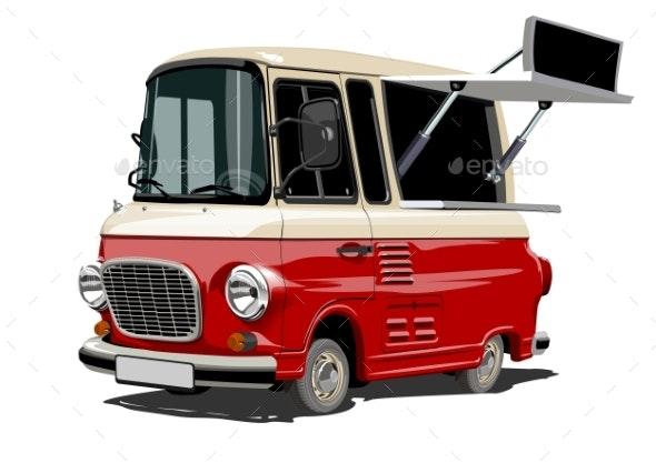 Cartoon Retro Food Truck - Man-made Objects Objects