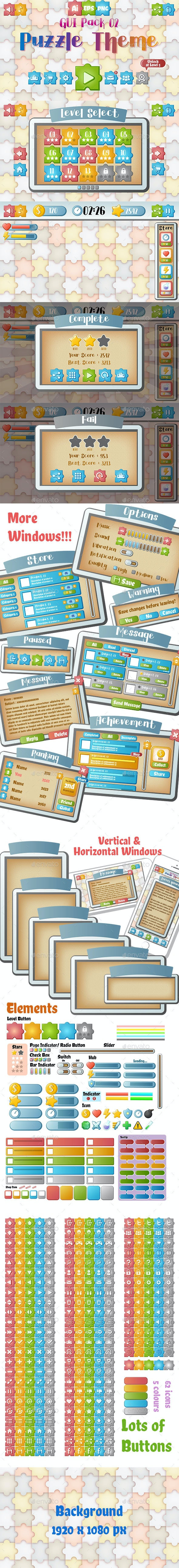 Puzzle Theme GUI Pack 2 - User Interfaces Game Assets