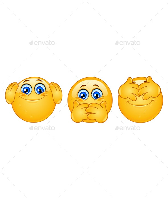 Three Monkeys Emoticons - People Characters
