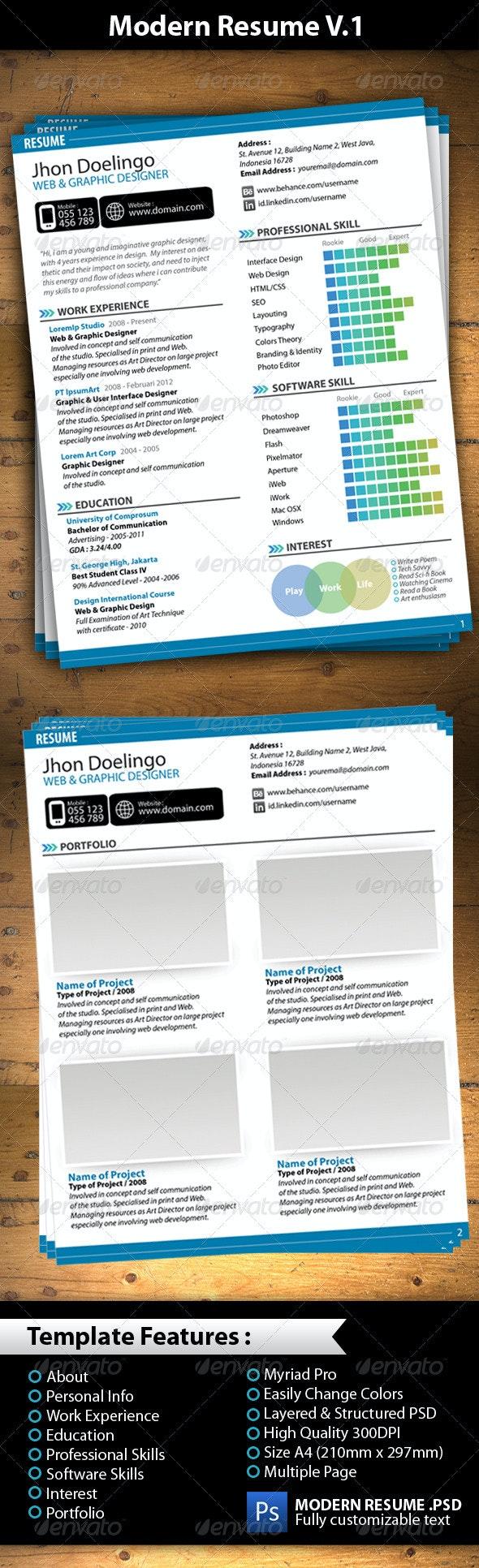Modern Resume V.1 - Resumes Stationery