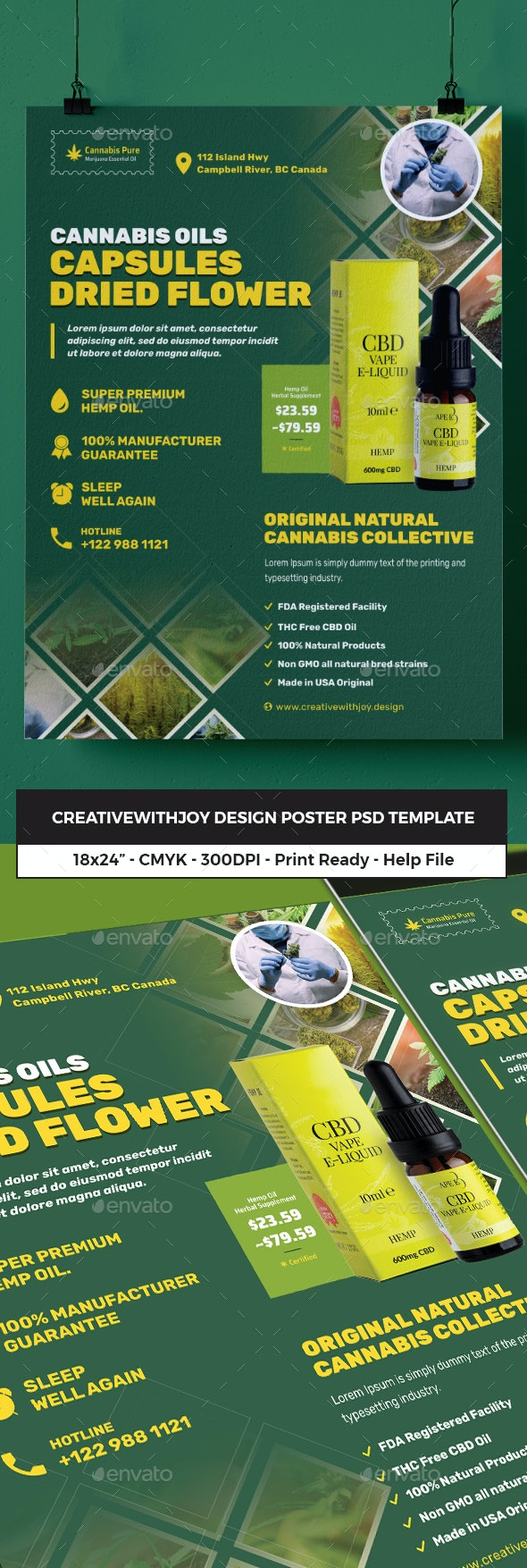 Cannabis Hemp Oil Products Poster - Flyers Print Templates