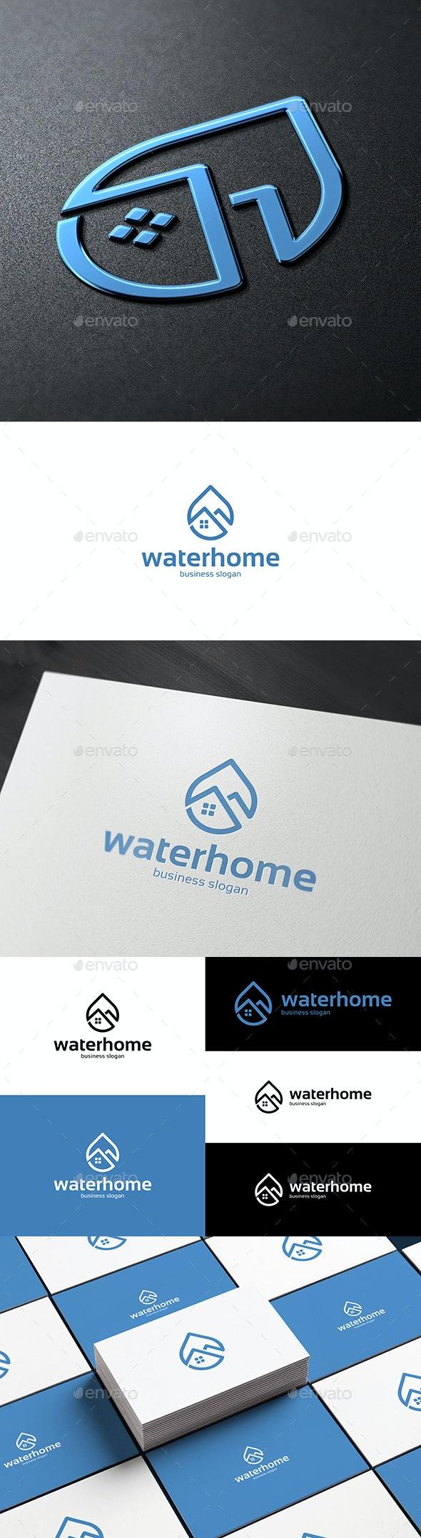 Water Home Drop Logo - Buildings Logo Templates