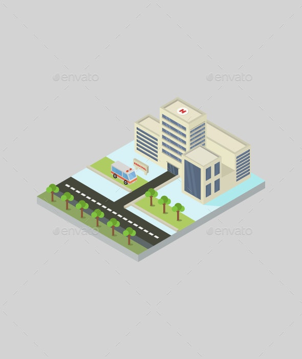Isometric Hospital - Buildings Objects
