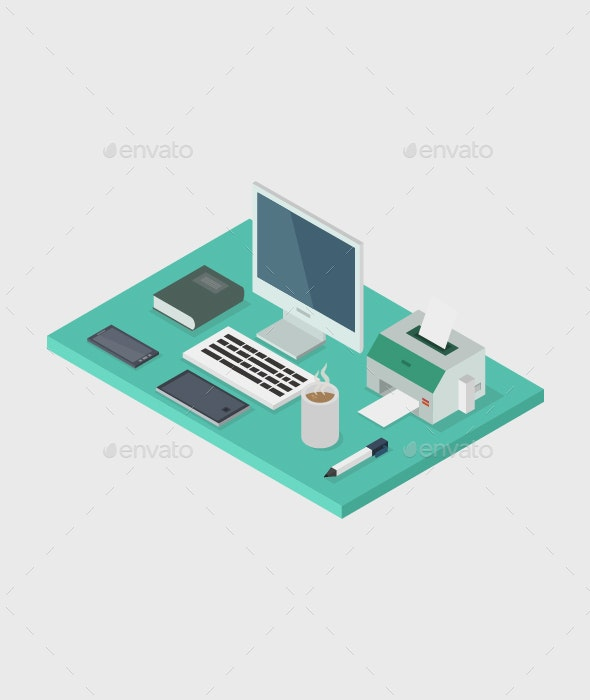 Isometric Office Desk - Computers Technology