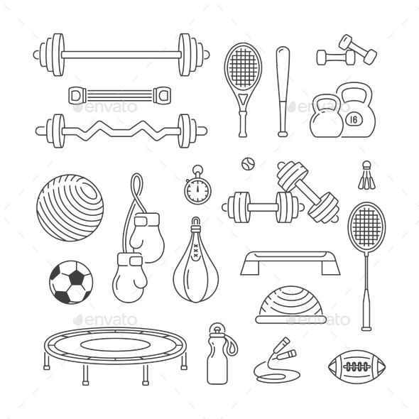 Sports Equipment Linear Vector Icons Set - Sports/Activity Conceptual