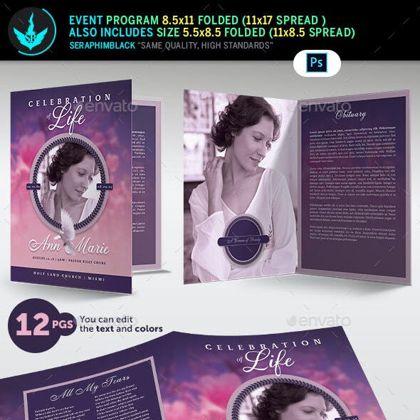 Lavender and Pink 12 Page Funeral Program Template