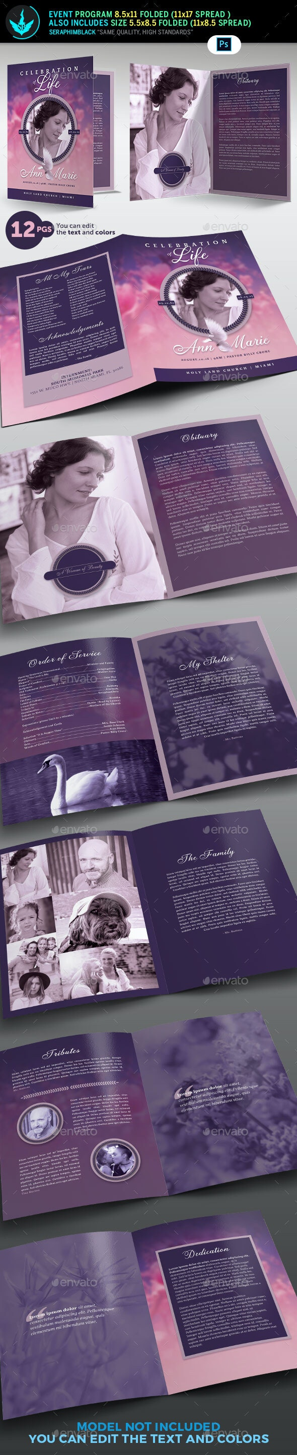 Lavender and Pink 12 Page Funeral Program Template - Informational Brochures