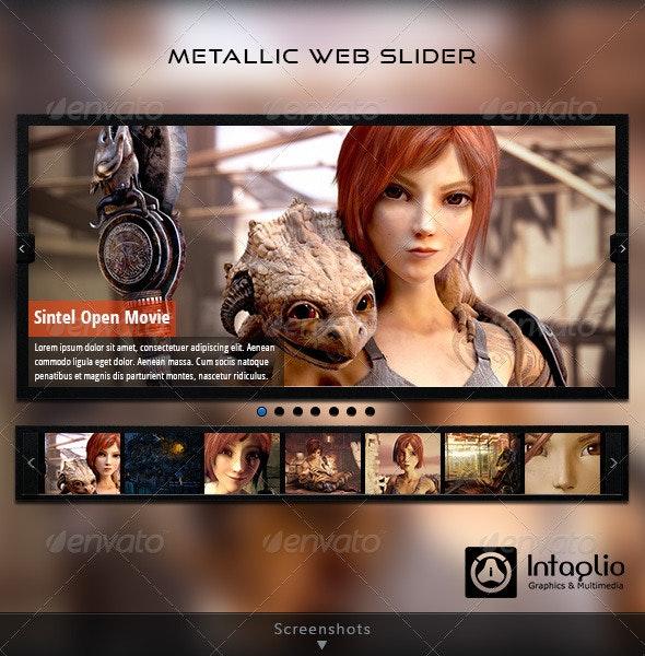 Metallic Web Slider - Sliders & Features Web Elements