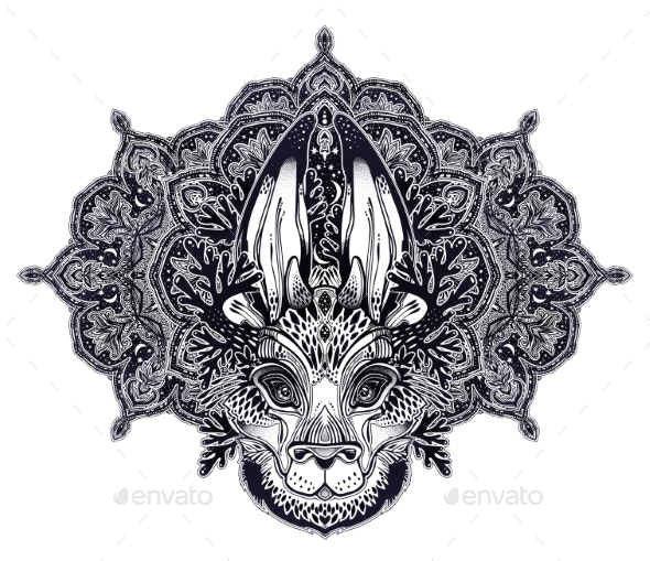 Folk Magic Jackalope Beast with Sacred Geometry - Animals Characters