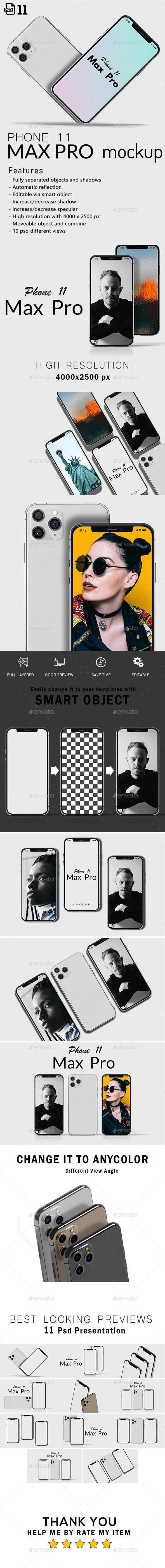 Phone 11 Max Pro Layered Mockup - Mobile Displays