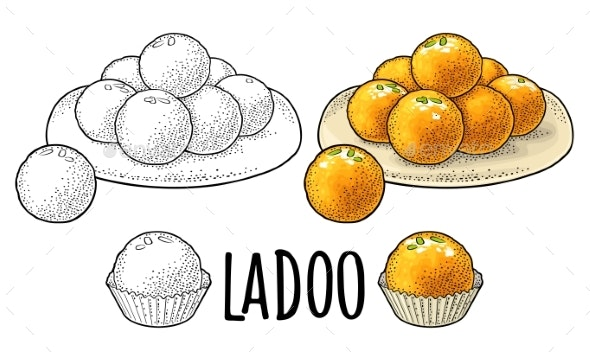 Indian Traditional Sweets Ladoo in Plate - Food Objects