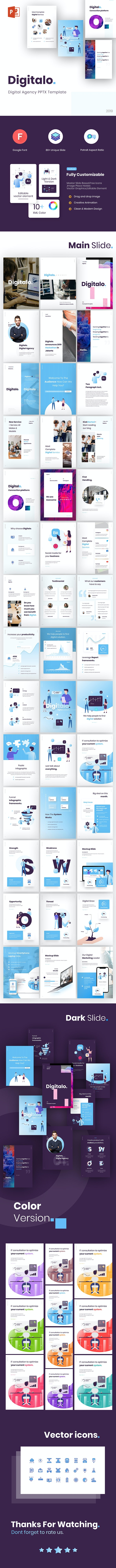 Digitalo Portrait Digital Agency PowerPoint Template - PowerPoint Templates Presentation Templates