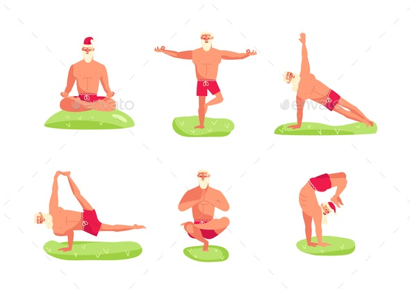 Santa Claus in Yoga Pose - People Characters