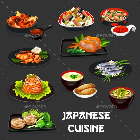 Japanese Dishes with Meat, Fish, Chicken, Veggies - Food Objects