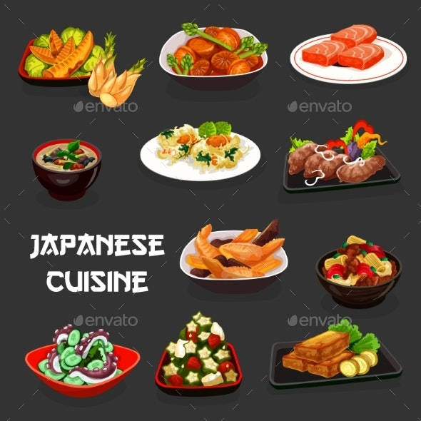Japanese Seafood Dishes, Vegetables and Meat - Food Objects