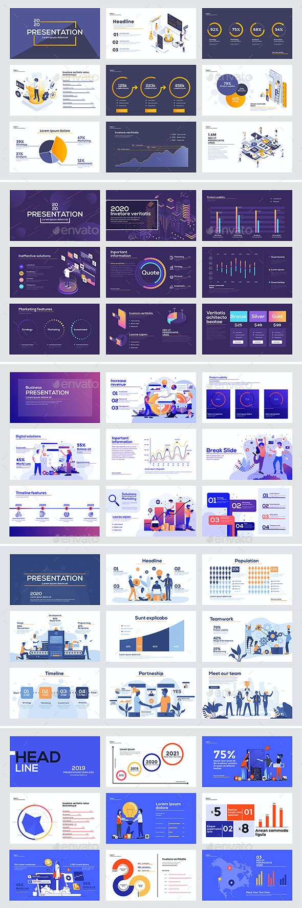 Presentation Slide Templates - Web Elements Vectors